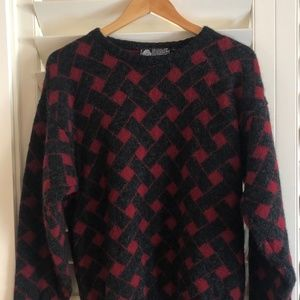 Pure New Wool - Vintage Retro Size Large Red Grey